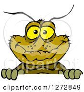 Clipart Of A Happy Cockroach Peeking Over A Sign Royalty Free Vector Illustration