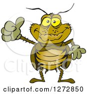 Clipart Of A Happy Cockroach Giving A Thumb Up Royalty Free Vector Illustration