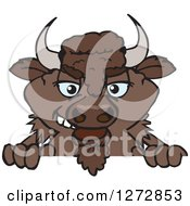 Clipart Of A Bison Peeking Over A Sign Royalty Free Vector Illustration by Dennis Holmes Designs