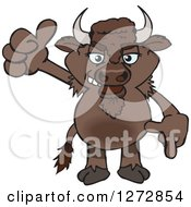 Clipart Of A Bison Giving A Thumb Up Royalty Free Vector Illustration by Dennis Holmes Designs