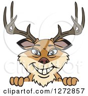 Clipart Of A Happy Buck Deer Peeking Over A Sign Royalty Free Vector Illustration by Dennis Holmes Designs