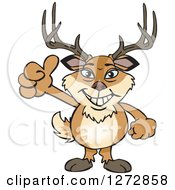 Clipart Of A Happy Buck Deer Giving A Thumb Up Royalty Free Vector Illustration by Dennis Holmes Designs