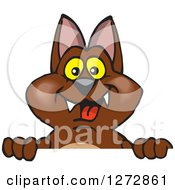 Clipart Of A Happy Bat Peeking Over A Sign Royalty Free Vector Illustration by Dennis Holmes Designs