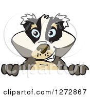 Clipart Of A Happy Badger Peeking Over A Sign Royalty Free Vector Illustration by Dennis Holmes Designs