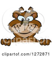 Clipart Of A Happy Bear Peeking Over A Sign Royalty Free Vector Illustration by Dennis Holmes Designs
