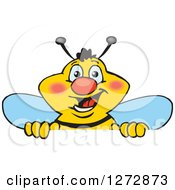 Clipart Of A Happy Bee Peeking Over A Sign Royalty Free Vector Illustration