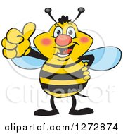 Clipart Of A Happy Bee Giving A Thumb Up Royalty Free Vector Illustration