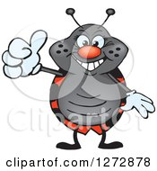 Clipart Of A Happy Ladybug Holding A Thumb Up Royalty Free Vector Illustration by Dennis Holmes Designs