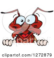 Clipart Of A Happy Ant Peeking Over A Sign Royalty Free Vector Illustration by Dennis Holmes Designs