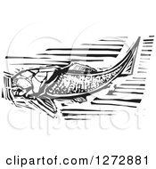 Clipart Of A Black And White Woodcut Dunkleosteus Prehistoric Fish Skeleton Royalty Free Vector Illustration by xunantunich