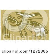 Clipart Of Woodcut People Looking At A Map In Front Of A Museum Pterosaurs Skeleton Royalty Free Vector Illustration by xunantunich