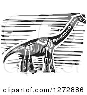 Clipart Of A Black And White Woodcut Apatosaurus Or Brontosaurus Skeleton Royalty Free Vector Illustration