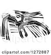 Clipart Of A Black And White Woodcut Pterosaurs Skeleton Royalty Free Vector Illustration by xunantunich