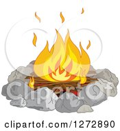 Clipart Of A Campfire Burning In A Stone Ring Royalty Free Vector Illustration