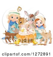 Clipart Of A Nativity Scene Of Baby Jesus Joseph Mary And Cute Animals With Magic Sparkles Royalty Free Vector Illustration