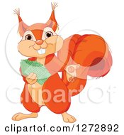 Clipart Of A Cute Happy Squirrel Presenting And Holding Tickets Royalty Free Vector Illustration