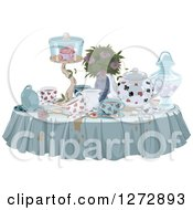 Clipart Of A Messy Table With Spills Treats And Drinks For A Tea Party Royalty Free Vector Illustration