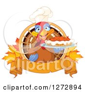 Cute Chef Turkey Bird Holding A Thanksgiving Pumpkin Pie With Autumn Leaves And A Blank Banner