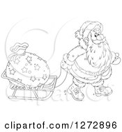 Clipart Of Black And White Santa Pulling A Sack On A Sled On Christmas Eve Royalty Free Vector Illustration