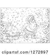Clipart Of Black And White Santa Pulling A Sack On A Sled Through The Snow On Christmas Eve Royalty Free Vector Illustration