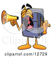 Suitcase Cartoon Character Screaming Into A Megaphone