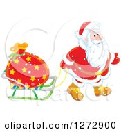Clipart Of Santa Pulling A Sack On A Sled On Christmas Eve Royalty Free Vector Illustration