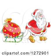 Clipart Of Santa Claus Pulling A Sack On A Sled On Christmas Eve Royalty Free Vector Illustration