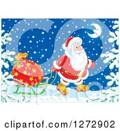 Clipart Of Santa Claus Pulling A Sack On A Sled Through The Snow On Christmas Eve Royalty Free Vector Illustration
