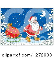 Clipart Of Santa Pulling A Sack On A Sled Through The Snow On Christmas Eve Royalty Free Vector Illustration