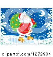 Clipart Of Santa Claus Carrying A Sack Through The Snow On Christmas Eve Royalty Free Vector Illustration