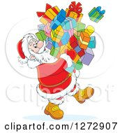 Clipart Of A Santa Carrying A Huge Pile Of Christmas Gifts Royalty Free Vector Illustration