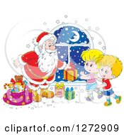 Clipart Of A Santa Claus Giving Gifts To Children On Christmas Eve Royalty Free Vector Illustration