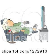 Clipart Of A Relaxed White Man Sitting In A Chair With Food At His Side And Pointing A Remote At A Flat Screen TV Royalty Free Vector Illustration