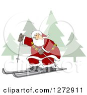Clipart Of Santa Skiing Through A Christmas Winter Landscape Royalty Free Vector Illustration