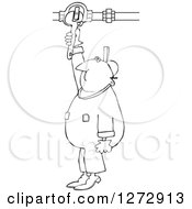 Clipart Of A Black And White Worker Man Plumber Turning A Valve Royalty Free Vector Illustration by Dennis Cox