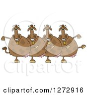 Clipart Of A Chorus Of Brown Cows Dancing The Can Can Royalty Free Vector Illustration