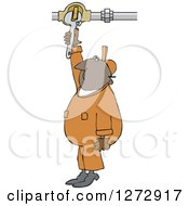 Clipart Of A Black Worker Man Plumber Turning A Valve Royalty Free Vector Illustration