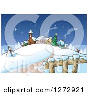 Road Leading To A Snowman Reindeer Christmas Tree And Winter Village At Night