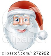 Clipart Of A Jolly Christmas Santa Face With A Beard And Hat Royalty Free Vector Illustration