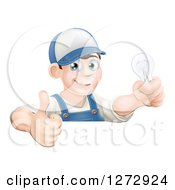 Clipart Of A Happy Brunette White Male Electrician Giving A Thumb Up And Holding A Light Bulb Over A Sign Royalty Free Vector Illustration by AtStockIllustration