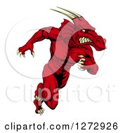 Clipart Of A Muscular Aggressive Red Dragon Man Mascot Running Upright Royalty Free Vector Illustration