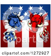 Clipart Of A Political Democratic Donkey And Republican Elephant Tearing Through An American Flag Royalty Free Vector Illustration by AtStockIllustration