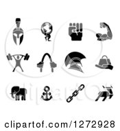 Clipart Of Black Strength Icons Royalty Free Vector Illustration