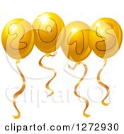 Clipart Of Gold New Year 2015 Party Balloons Royalty Free Vector Illustration