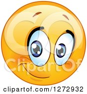 Clipart Of A Half Smiling Emoticon Royalty Free Vector Illustration