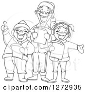 Clipart Of Black And White Line Art Family Singing Christmas Carols Royalty Free Vector Illustration