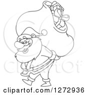 Clipart Of A Black And White Line Art Santa Claus Carrying A Christmas Sack On His Back Royalty Free Vector Illustration
