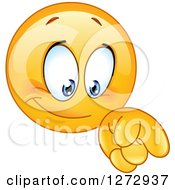 Clipart Of A Smiley Emoticon Pointing Down Royalty Free Vector Illustration