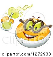 Clipart Of A Scientist Smiley Emoticon Holding Up A Flask Royalty Free Vector Illustration