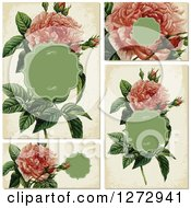 Clipart Of Vintage Pink Rose Invitation Designs Royalty Free Vector Illustration by BestVector
